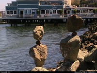Photo by elki | Sausalito  balanced rock, bay