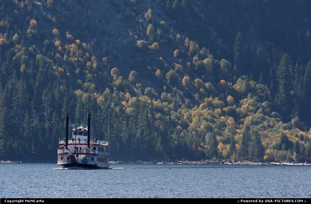 Picture by MnMCarta:Lake TahoeCaliforniaemerald,bay,water,boat,fairy,nature,mountain,autumn,fall,color,trees,perspective