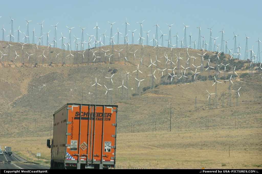 Picture by WestCoastSpirit: Not in a city California   wind mills, green, freeway, ecology