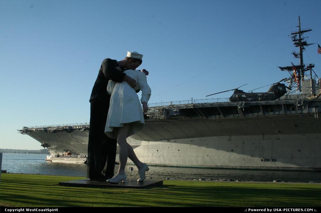Picture by WestCoastSpirit:San DiegoCaliforniaUnconditional Surrender, Seward Johnson, sailor, nurse, sculpture, USS Midway 41