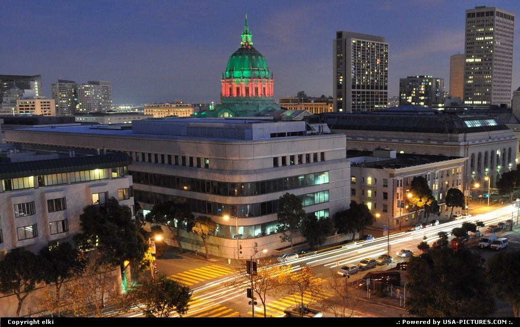 Picture by elki:San FranciscoCaliforniacity hall, coupole, san francisco, sunset