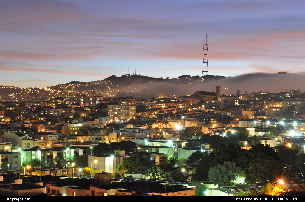 Picture by elki: San Francisco California   san francisco, mist, sunset