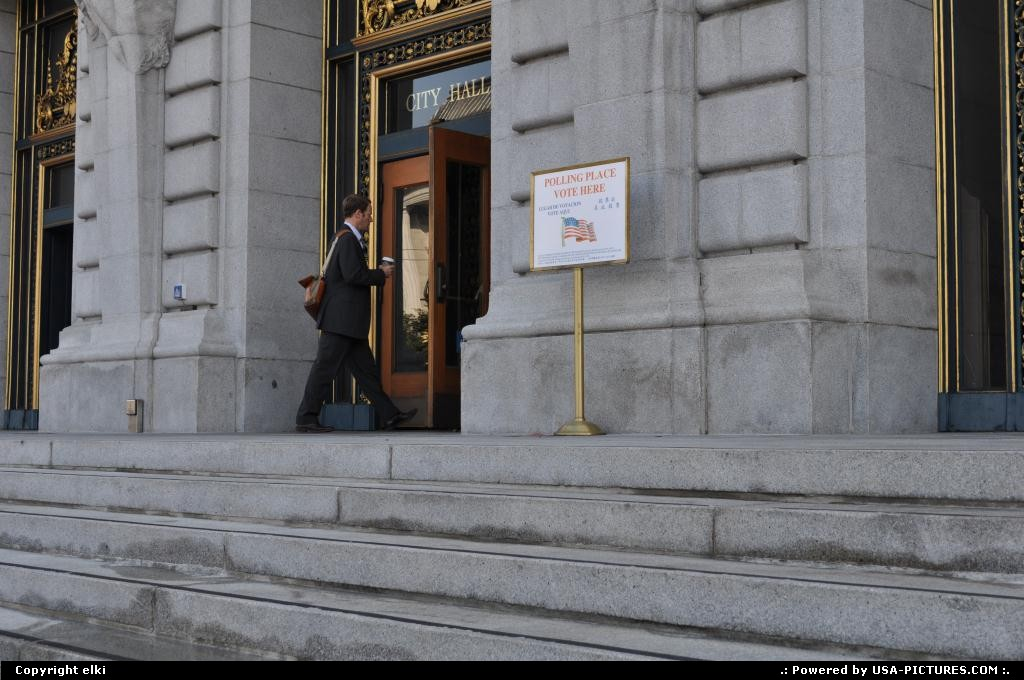 Picture by elki:San FranciscoCaliforniacity hall entrance san francisco california