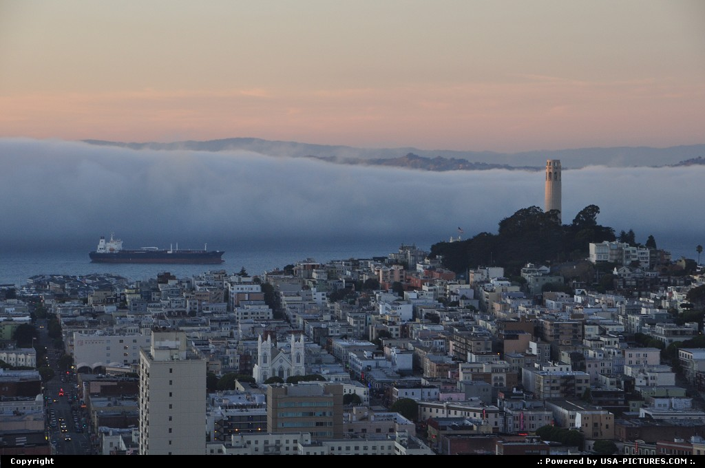 Picture by WestCoastSpirit: San Francisco California   fog, SF, SFO, bay area, cargo, ship, boata