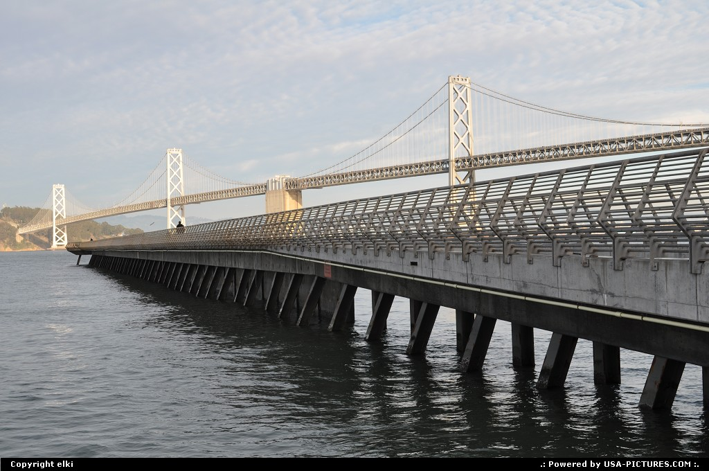 Picture by elki: San Francisco California   Pier 14 and oakland bridge on embarcadero