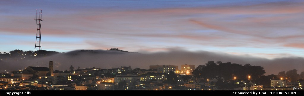 Picture by elki: San Francisco California   san francisco, sunset, mist, fog