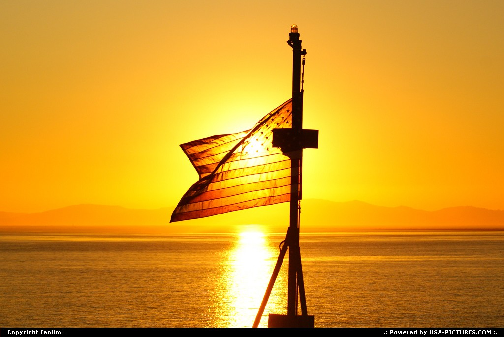 Picture by Ianlim1: Vallejo California   American Flag, sunset