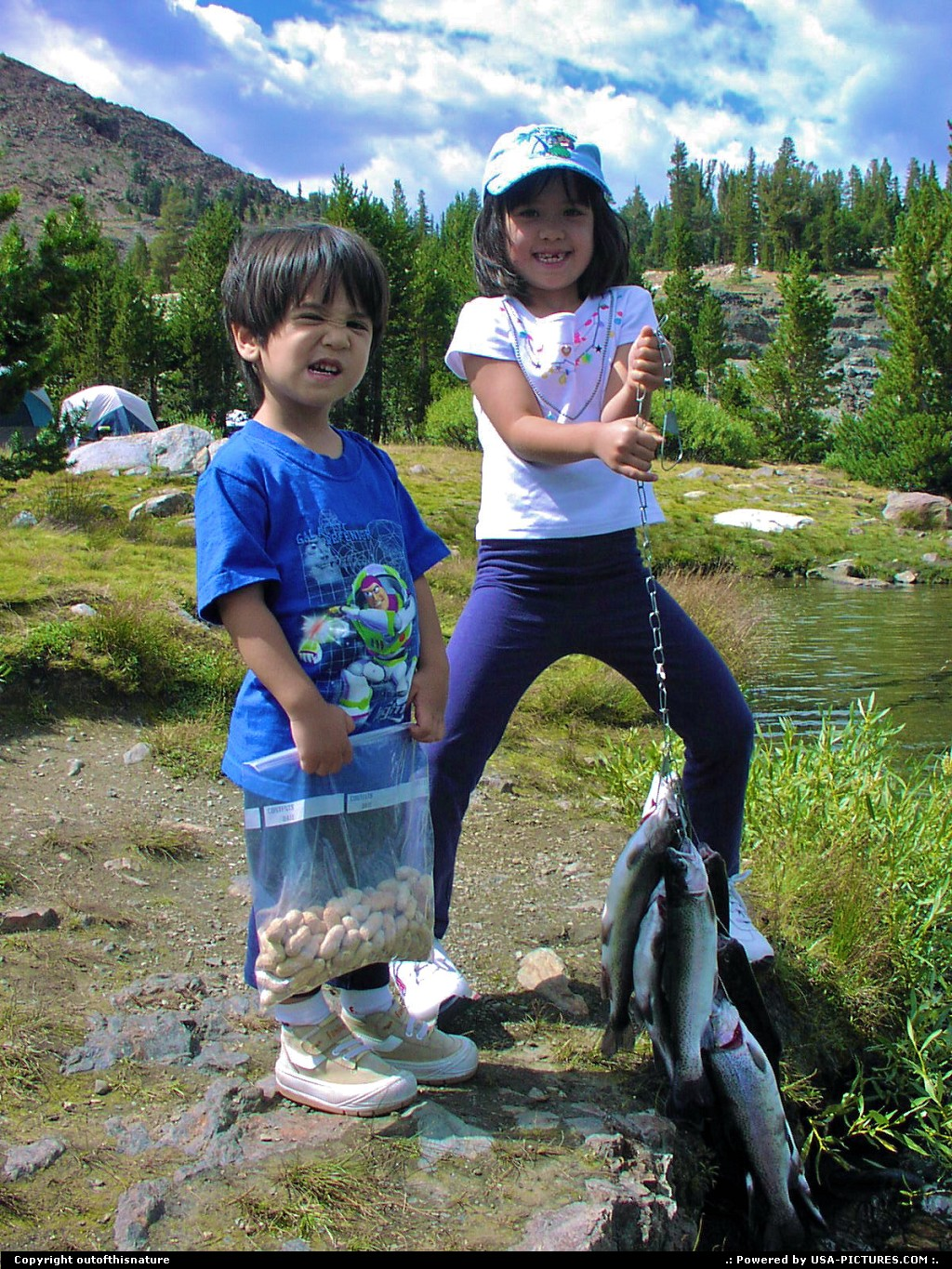 Picture by outofthisnature:  California Yosemite  kids, Tioga Lake, fish
