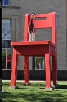 , Denver, CO, The yearling, Donald Lipski Installed in NYC in 1997, it moved in 1998 in denver for permanent installation. The steel chair is 21 feet tall and ten feet wide. the painted fiberglass pony is 6 feet tall at the ears.