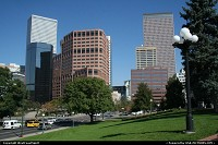 Denver : Downtown/Skyline from the Mall. City hall to the left, Colorado State Capitol to the right