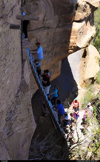 Mesa Verde, , CO, Accessing balcony house at mesa verde national park by this 32 foot ladder. Looks like more impressive than it is actually !! More at Wikipedia on mesa verde national park : http://en.wikipedia.org/wiki/Mesa_Verde_National_Park Mesa Verde National Park is a U.S. National Park and UNESCO World Heritage Site located in Montezuma County, Colorado, United States. The park was created in 1906 by President Theodore Roosevelt, to protect some of the best-preserved cliff dwellings in the world, or as he said,