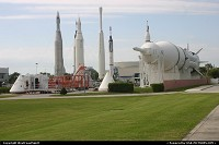 Cape Canaveral : Various rockets on display at the Kennedy Space Center.