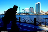 Photo by LoneStarMike | Jacksonville  skyline, statue, waterfront