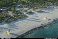 Florida, Public beach in Key Biscayne, near Miami. Seen here from the helicopter.