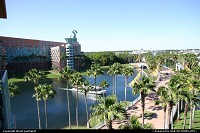 Quite a decent view from this room at the Swan resort in Disney. You can see the boardwalk in the background. Epcot is on the right, yet not visible on this picture but at a walkable distance.