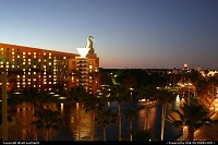 Lake Buena Vista : Sunset at Disney, specifically at the Swan and Dolphin resort. Epcot, to the right
