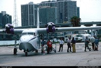 Boarding a Chalk's Ocean Grumann Turbo-Mallard amphibian at Miami-Watson seaplane base.