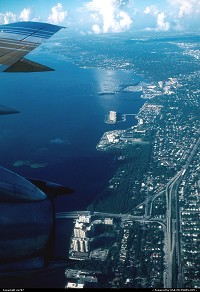 Not in a city : On board a Bahamasair Boeing 737-200 en route to homebase Nassau. Climb to cruise level over Miami Beach