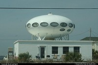 An UFO house on the sand strip in Pensacola Beach.