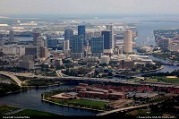 Tampa : Tampa Skyline on approach to Tampa International Airport