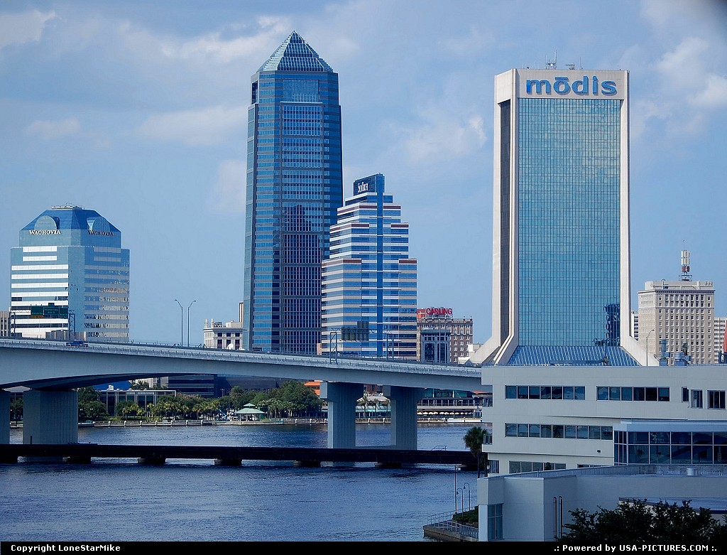 Picture by LoneStarMike: Jacksonville Florida   downtown, skyscraper, skyline, waterfront, bridge,