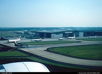 Georgia, Home of Delta Air Lines, illustrated there by some fleet members queueing for the runway allocated to take-offs and part of its maintenance shops, Atlanta-Hartsfield is the busiest airport worldwide in terms of passenger traffic.
