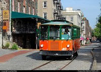Georgia, Tourist trolley in the historic district along the waterfront in Savannah, GA
