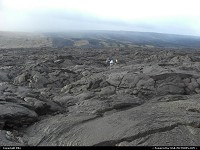 Hawaii, Lava streams from the hill to the sea