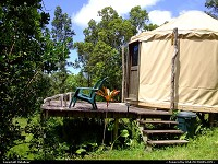 yurt off the grid on a fruit farm in the Puna district of the Big Island of Hawaii on July 17, 2006 about 2:00 pm