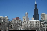 Illinois, Historical Congress Hotel with the massive Sears Tower afar.