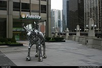 Steel moose sculture located at the botom of the chicago tribune tower.