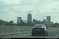 Arriving in Indianapolis with the skyline afar.