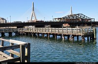 Massachusetts, old wharves, zakim bridge at the picture background