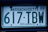 Tag of the car somewhere between Boston/Logan and Cape Cod