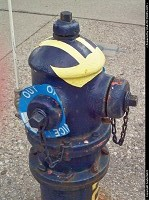A football helmet fire hydrant at the Michigan Wolverines Stadium.