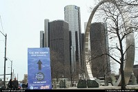 Detroit : The Michigan Labor Legacy Landmark with the GM complex afar.