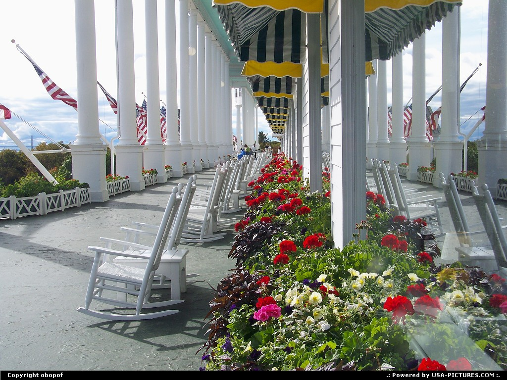 Picture by obopof: Mackinac Island Michigan   Porch, rocker, flowers