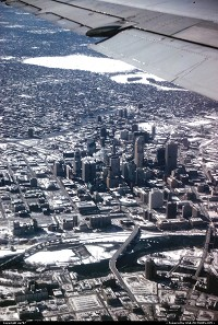 Minesota, Inexorably getting closer to destination while overflying downtown Minneapolis