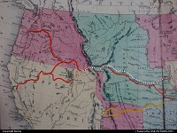 Missouri, The Missouri state was the gate to the west. This map pictures the main trails to the promised land (Pony Express museum)