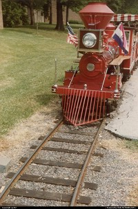 Missouri, Steam engine of another minitrain right on tracks across Anheuser-Busch's park.