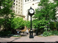 Beautiful clock at the corner of Trade street and Tryon street, the very hart of downtown Charlotte