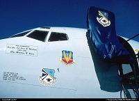 Nevada, Nellis Air Force base, close up on the nose section of a Boeing 707-E3B