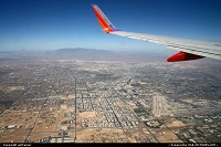 Scenic approach over Las Vegas, see how close the airport is from the Strip !