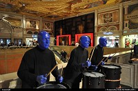 The blue man group performing in the Venitian Hotel and Casino on Las vegas Strip.