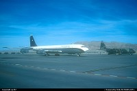 Nellis AFB : Taking part in the 50 years of USAF as support aircrafts for the aerobatic teams of their countries of residence a Chile Air Force Boeing 707 kept company to a Brasil Air Force camouflaged Lockheed Hercules.