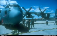 USAF turned fifty and celebrated in style at Nellis AFB. Illustrated by a EC.130 posing for the camera along with two crew members was one of the numerous Lockheed Hercules displayed during the show