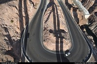 The old I93, horse show shaped road wrapping the cliff down the canyon, right before the Hoover Dam. Taken from the new built Mike O'Callaghan – Pat Tillman Memorial Bridge