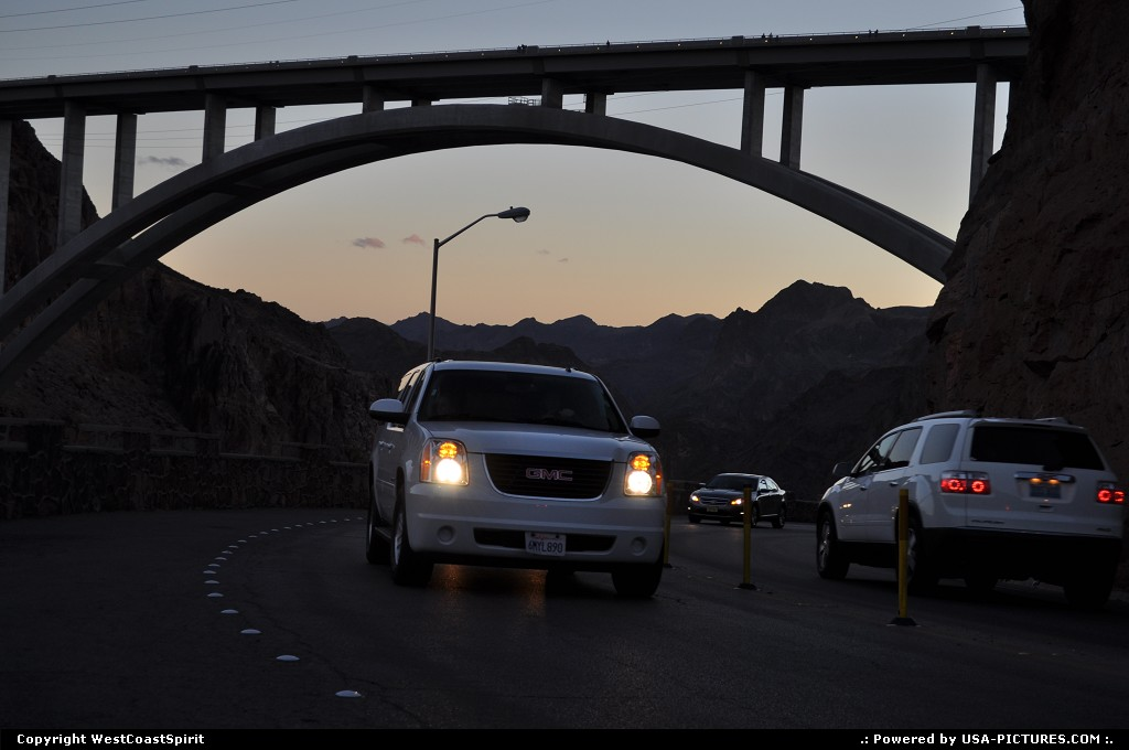 Picture by WestCoastSpirit: not in a city Nevada   hoover dam, boulder canyon, colorado, Mike O'Callaghan – Pat Tillman Memorial Bridge, I93, gmc, suv