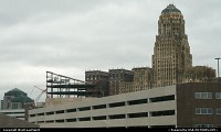 The very distinctive Art Deco Style City Hall of Buffalo, seen here from the freeway, en route to Cleveland, OH