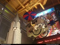 New York : An impressive mockup of the Chrysler built with Legos. Inside the Toy'r'us store in Times Square.